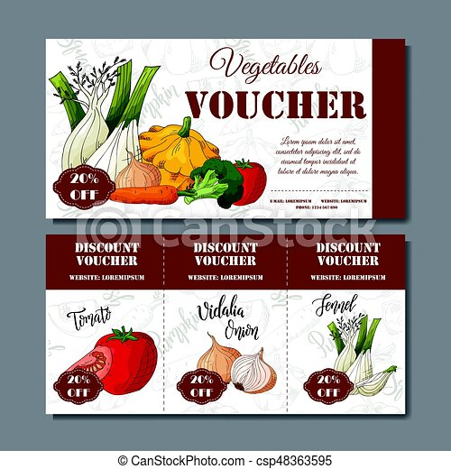 Cafe discount voucher for your business. Modern style with food element on background. Template vector with vegetables for farmers - csp48363595