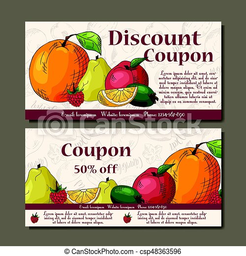 Cafe discount voucher for your business. Modern style with food element on background. Template vector with fruitsf or farmers. - csp48363596