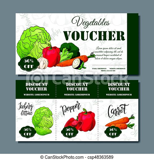 Cafe discount voucher for your business. Modern style with food element on background. Template vector with vegetables for farmers - csp48363589