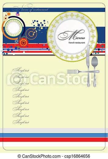 (cafe), menu., vect, francuski, restauracja - csp16864656