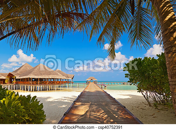 Cafe on tropical Maldives island - csp40752391