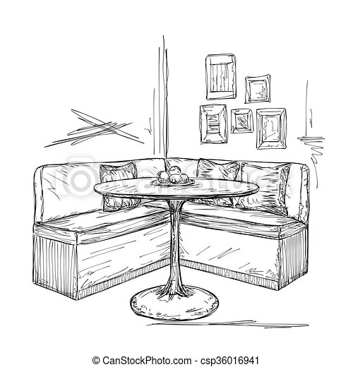 Cafe Or Kitchen Interior Table And Sofa Sketch Hand Drawn Cafe Or