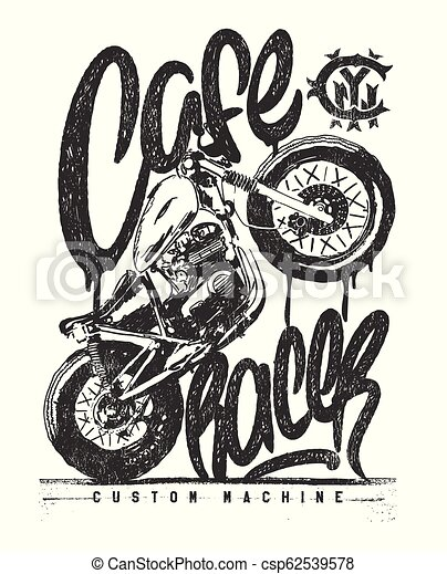 Cafe Racer Vintage Motorcycle Hand Drawn T Shirt Print