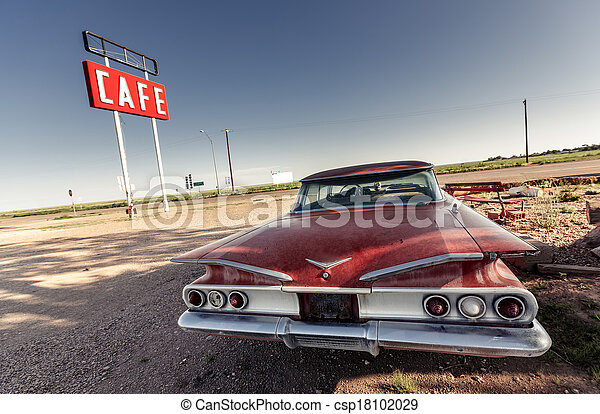 Cafe sign along historic Route 66 - csp18102029