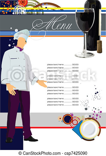 (cafe), vecteur, menu., malade, restaurant - csp7425090
