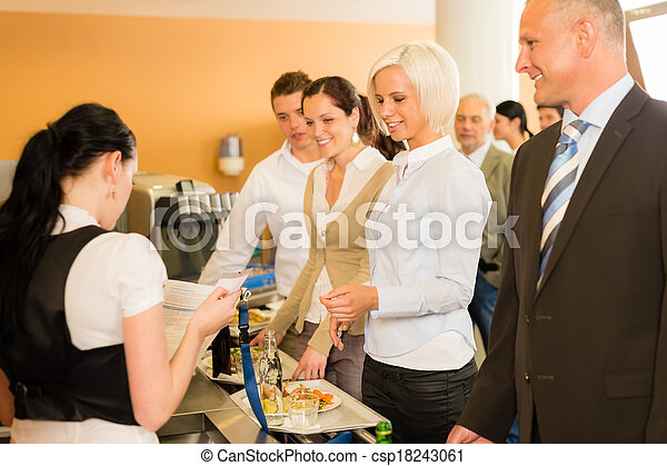 Cafeteria cashier woman check guest list - csp18243061