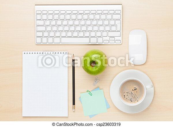 caffè, blocco note, ufficio, tazza, computer, tavola - csp23603319