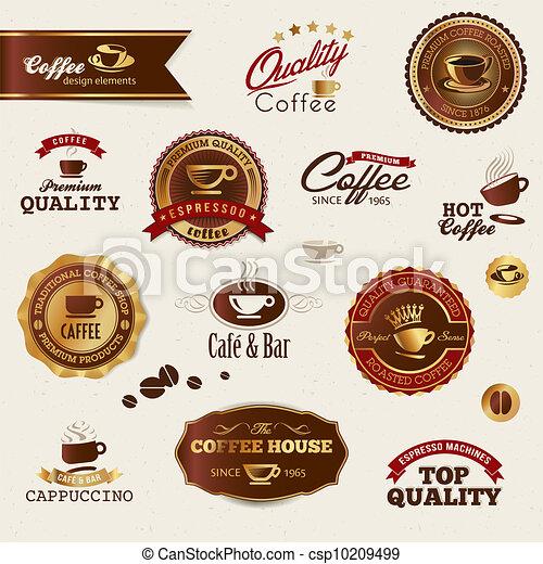 caffè, elementi, etichette - csp10209499