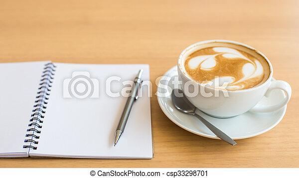 caffè, grunge, tazza, legno, quaderno, fondo - csp33298701