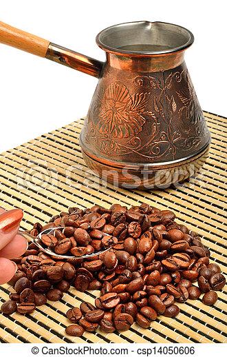 caffè, isolato, mano, vaso, cucchiaino tè, presa a terra, bianco, tovaglia - csp14050606