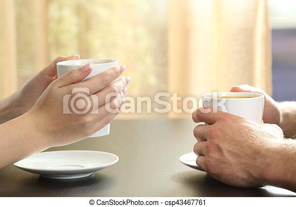 caffè, mani titolo portafoglio coppia, campanelle, amici, o - csp43467761