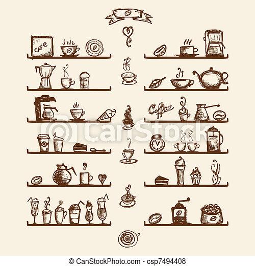 Caffè, mensole, schizzo, casa, disegno, utensili, disegno ...