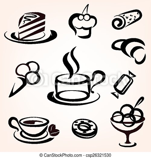 caffe, bakery and other sweet pastry icons set - csp26321530