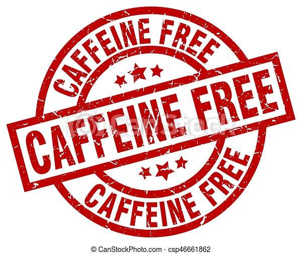 caffeine free round red grunge stamp - csp46661862