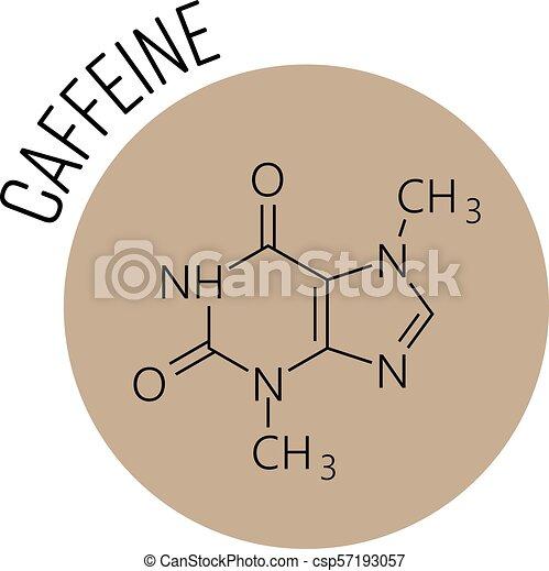 Caffeine Molecule Chemical Skeletal Formula Designed In The Beige