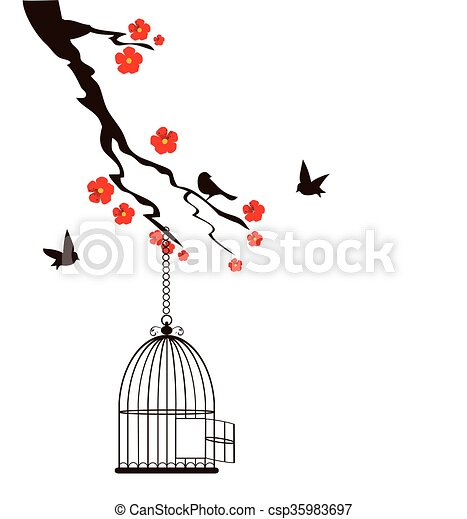 Cage oiseaux floral mettez cage oiseau branche vecteurs eps rechercher des clip art des - Dessin oiseau en cage ...