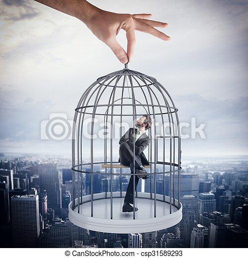 Caged  businessman - csp31589293