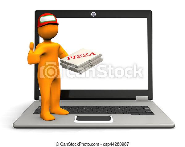 cahier, homoncule, pizza - csp44280987