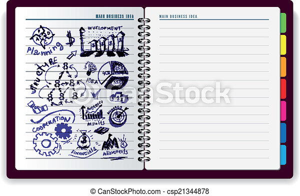 cahier id e cr atif symbols id e commerciale illustration main vecteur dessin cr atif. Black Bedroom Furniture Sets. Home Design Ideas