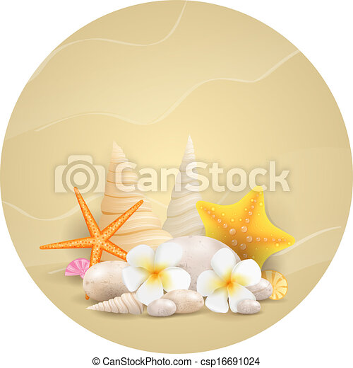 cailloux, fleurs, starfishes, rond, fond - csp16691024