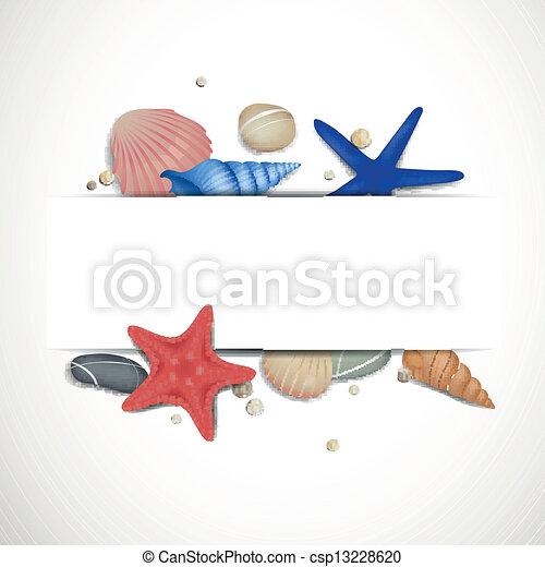 cailloux, vecteur, starfishes, seashells - csp13228620