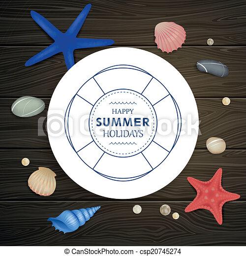 cailloux, vecteur, starfishes, seashells - csp20745274
