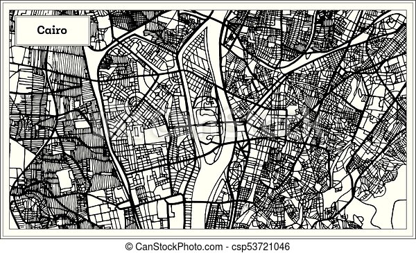 Line Art City : Cairo egypt city map in black and white color vector eps