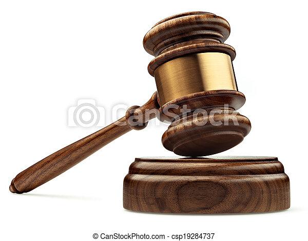 caisse de résonnance, bois, isolé, juge, perspective, fond, marteau, blanc - csp19284737