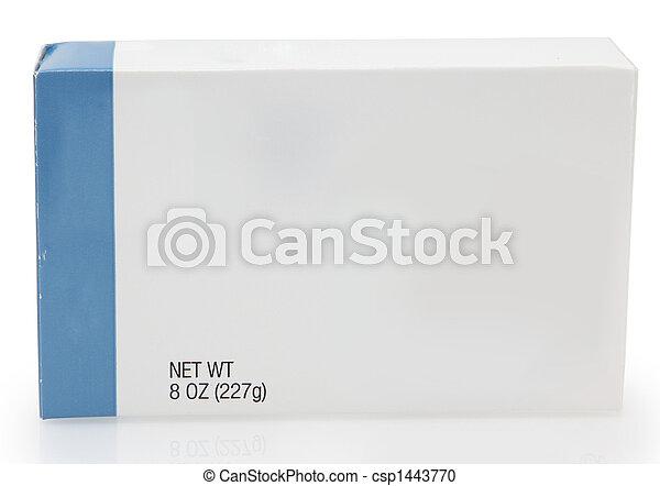 caixa, alimento, em branco, etiqueta - csp1443770