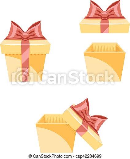 caixa, apartamento, jogo, presente, ilustração, vetorial, desenho, modelo, ano, novo, caricatura, ícone - csp42284699