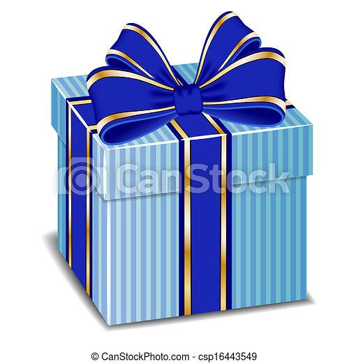 caixa, azul, arco presente, vetorial, seda - csp16443549