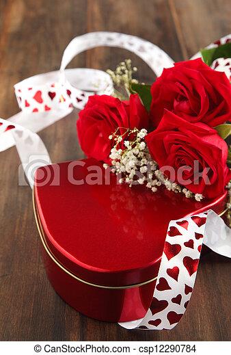 caixa, buquet, valentines, presente, rosas - csp12290784