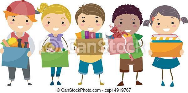 caixa, crianças, stickman, doação, cheio, brinquedos - csp14919767