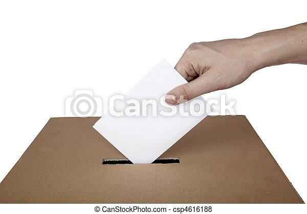 caixa, escolha, eleição, voto, política, votando, voto - csp4616188