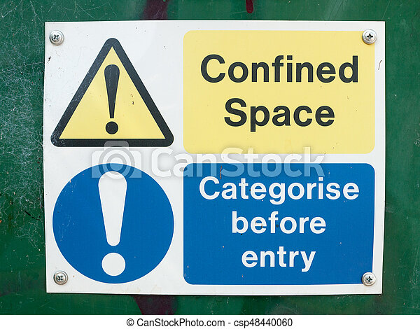caixa, espaço, placa sinal, confinado, entrada, categorise, antes de - csp48440060