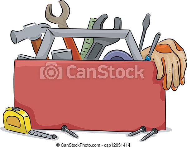 caixa, ferramenta, tábua, em branco - csp12051414