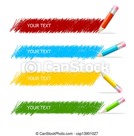 caixa, lápis, vetorial, coloridos, texto - csp13901027