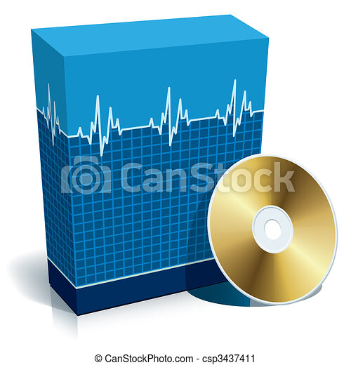 caixa, médico, software - csp3437411