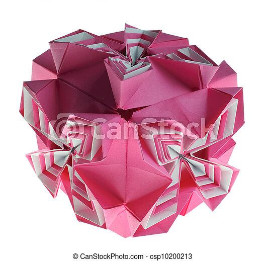 Caixa Origami Kusudama Cor De Rosa Caixa Isolado Kusudama