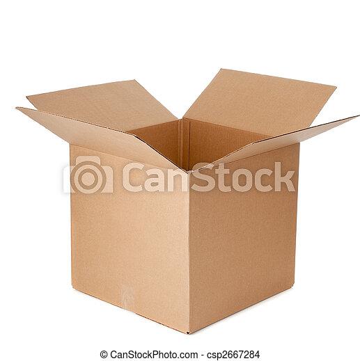 caixa, papelão, abertos, vazio - csp2667284