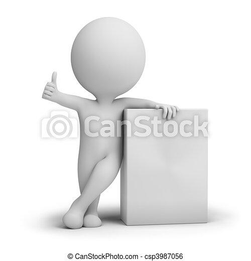 caixa, produto, pessoas, -, pequeno, vazio, 3d - csp3987056
