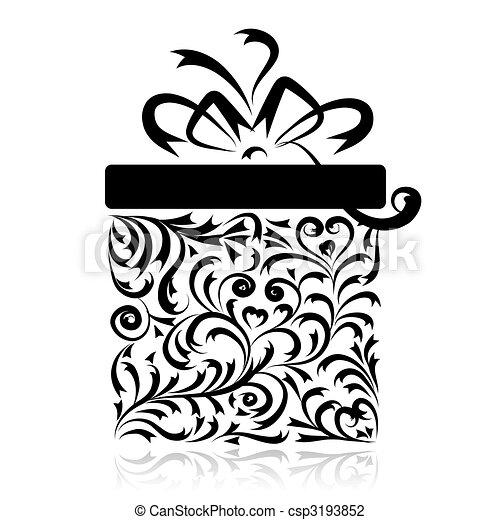 caixa, stylized, desenho, seu, presente - csp3193852