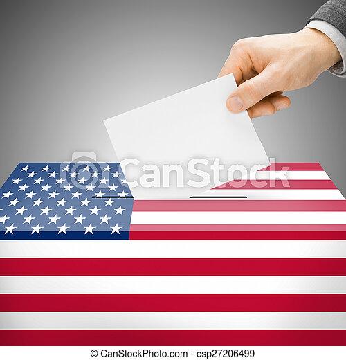 caixa, unidas, pintado, nacional, -, estados, bandeira, voto - csp27206499