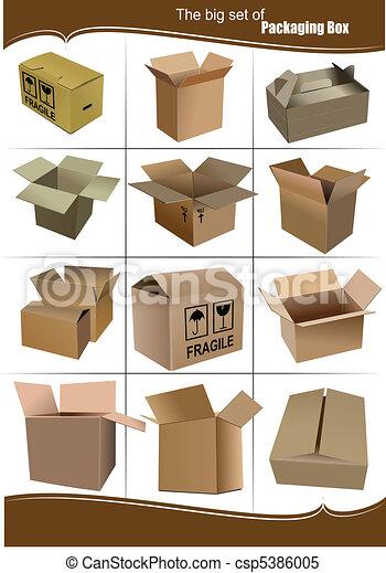 caixas, embalagem, jogo, grande, caixa papelão - csp5386005