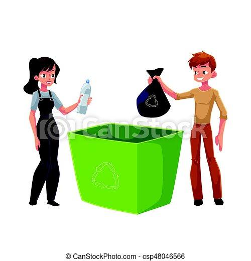 Hombre, mujer poniendo basura en la basura, concepto de reciclaje de residuos - csp48046566