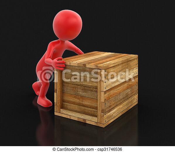 Caja de madera y hombre - csp31746536