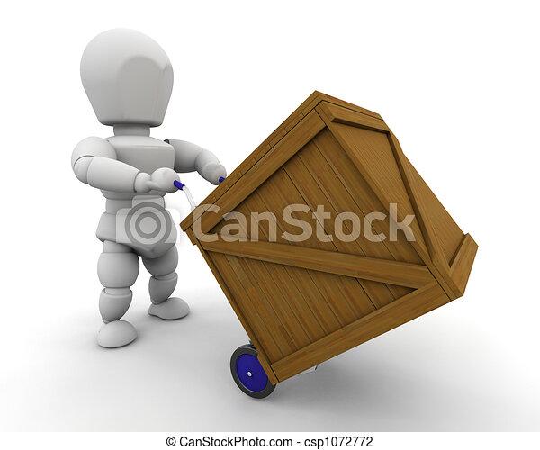 Hombre con caja - csp1072772