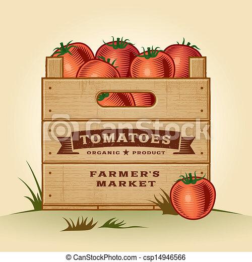 Retro cajón de tomates - csp14946566