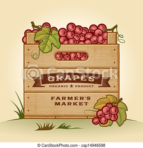 Retro cajón de uvas - csp14946598