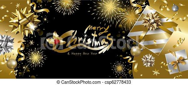 caja, alegre, regalo, fuegos artificiales, ilustración, vector, diseño, lujo, plano de fondo, año, nuevo, caer, bandera, navidad, cinta, feliz - csp62778433